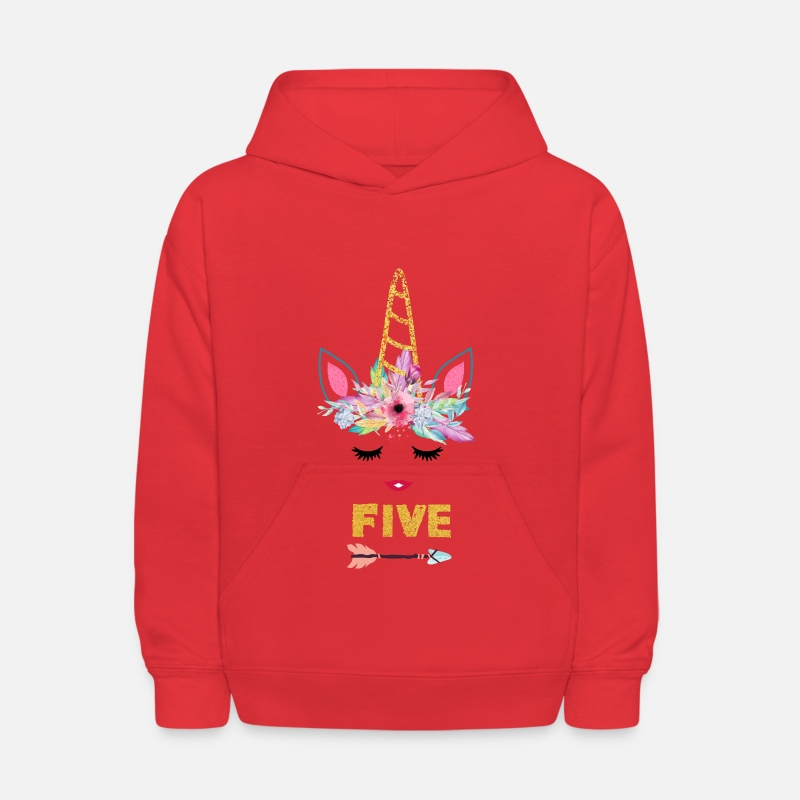 Unicorn Girl 5th Birthday Shirt Kids Hoodie