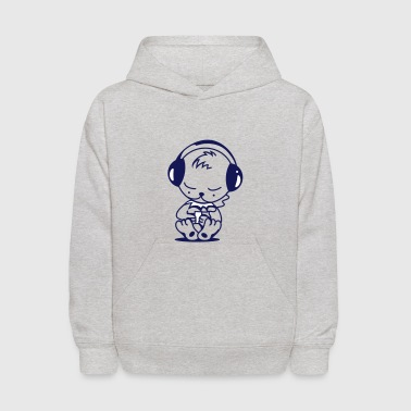 Little bear with an MP3 Player - Kids' Hoodie