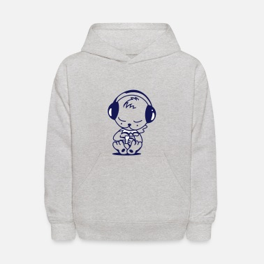 Mp3 Player Little bear with an MP3 Player - Kids' Hoodie