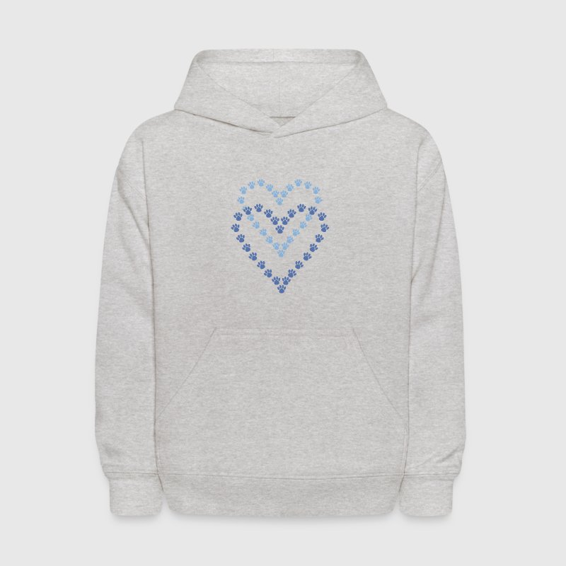 Blue Heart Shaped Paw Prints - Kids' Hoodie