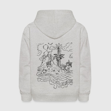 Trippy Volcano & Palm Tree - Kids' Hoodie