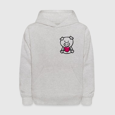 oink with heart - Kids' Hoodie