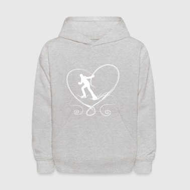 Ice skaters blue heart with scratches on ice - Kids' Hoodie