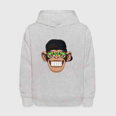 Smiling chimp monkey with kaleidoscope sunglasses - Kids' Hoodie