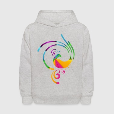 Colorful rolling bird - Kids' Hoodie