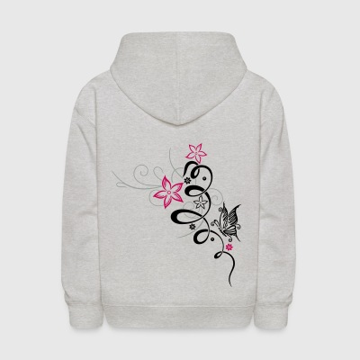 Feminine ornament with butterfly and flowers. - Kids' Hoodie