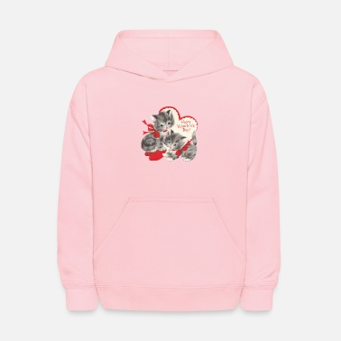 VALENTINES DAY KITTENS RED BOW & HEARTS - Kids' Hoodie