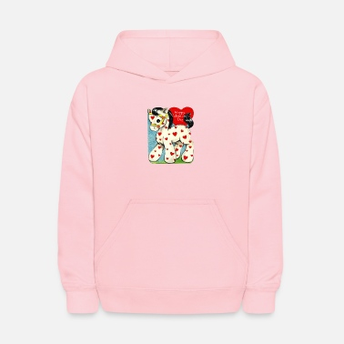 Valentine's Day, white toy horse with red hearts. - Kids' Hoodie
