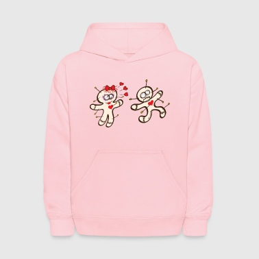 Male voodoo doll running from a female in love - Kids' Hoodie