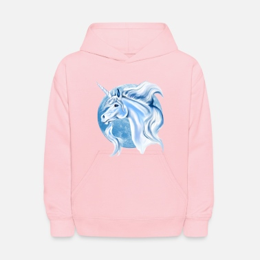 Unicorn Sky Blue and White Unicorn - Kids' Hoodie