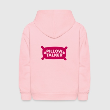 PILLOW TALKER on a pillow with love hearts - Kids' Hoodie
