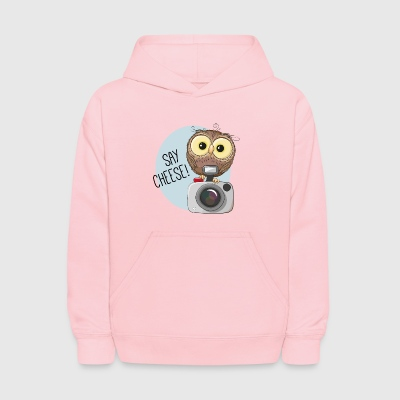 owl inscription fotoaparat photographer - Kids' Hoodie