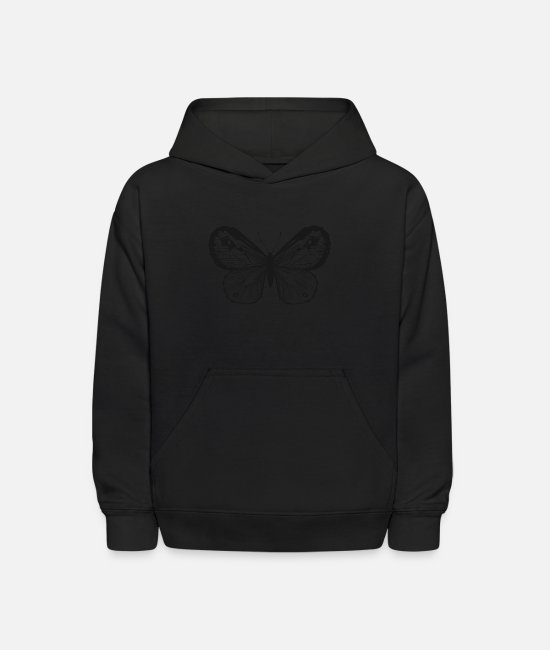 Art Hoodies & Sweatshirts - Butterfly insect vector shape tatoo image sketch - Kids' Hoodie black