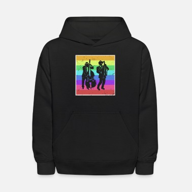 Double Blues Blues band musician double bass saxophone colorful - Kids' Hoodie