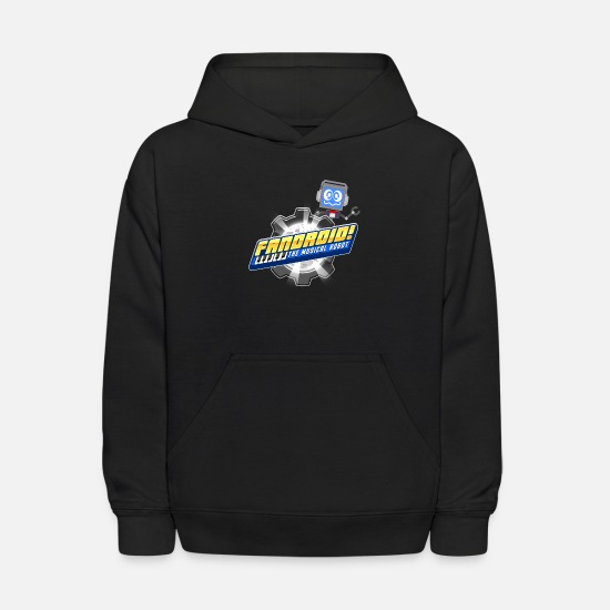 Kids Hoodies & Sweatshirts - Fandroid Logo with Waving Fandroid - Kids' Hoodie black