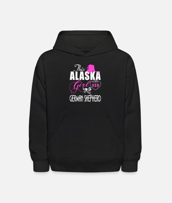 Alaska Hoodies & Sweatshirts - This Alaska Girl Lover Her German Shepherd T Shirt - Kids' Hoodie black