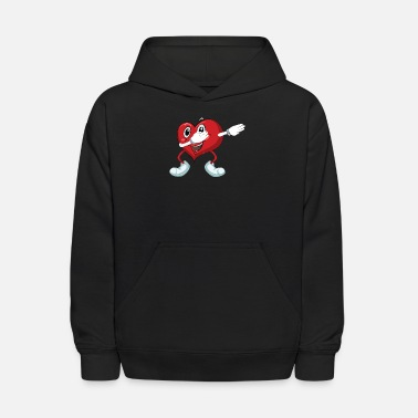 Heart Dabbing Heart doing the Dab for Valentine's day - Kids' Hoodie
