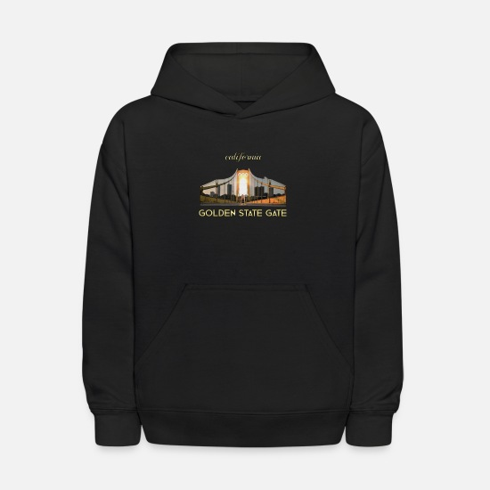 Golden Hoodies & Sweatshirts - shiny california golden state gate - Kids' Hoodie black