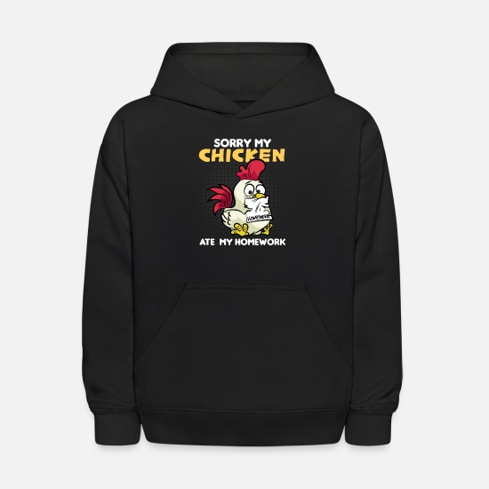 Homework Hoodies & Sweatshirts - CHICKEN ATE MY HOMEWORK School First Grader - Kids' Hoodie black