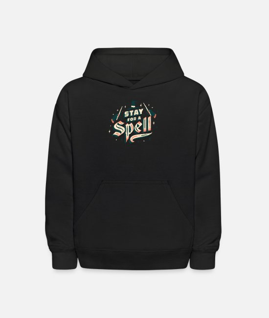 Quote Hoodies & Sweatshirts - Halloween Quote - Stay For A Spell - Kids' Hoodie black