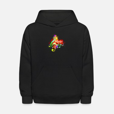 Theme Funky Colorful Music Treble Clef Musical Note Art - Kids' Hoodie