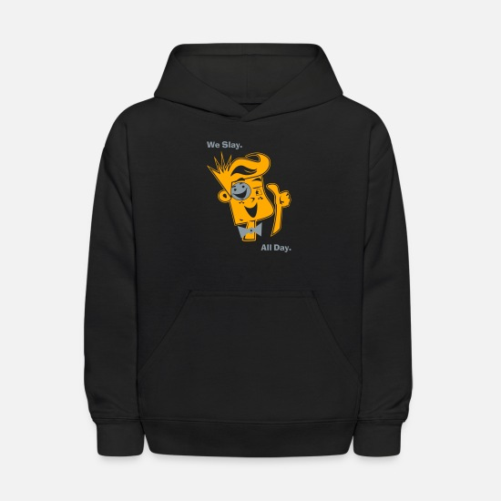 Slay Hoodies & Sweatshirts - We Slay All Day Shiny Shirt Metallic Silver & Gold - Kids' Hoodie black