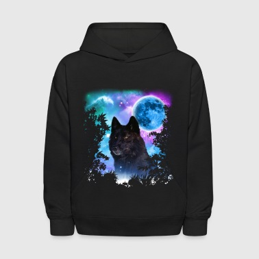 Black Wolf MidNight Forest - Kids' Hoodie
