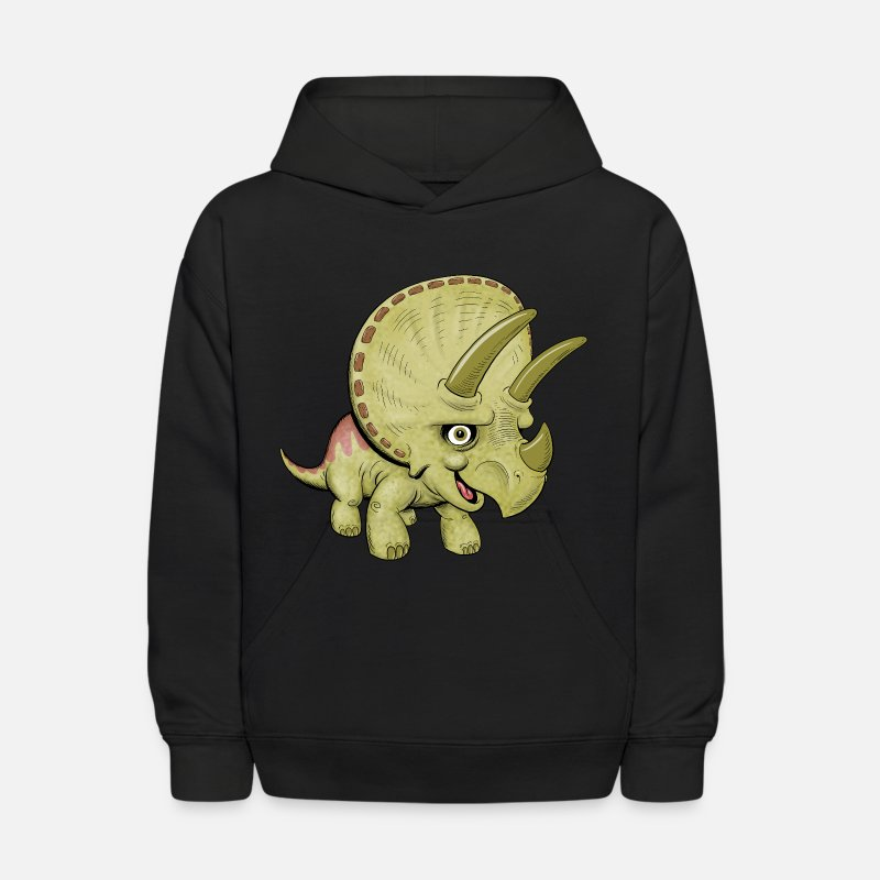 Dino Hoodies & Sweatshirts - Cute Cartoon Triceratops - Kids' Hoodie black