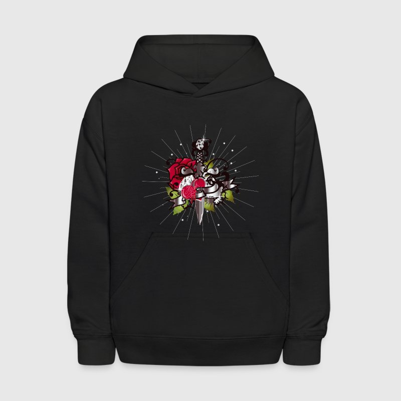 The heart,the rose and the dagger - Kids' Hoodie