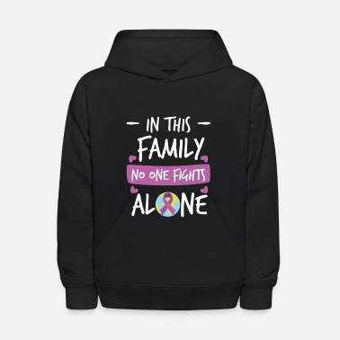Brain In this Family no one fights alone Pink Ribbon - Kids' Hoodie