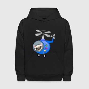 cat-flying-helicopter - Kids' Hoodie