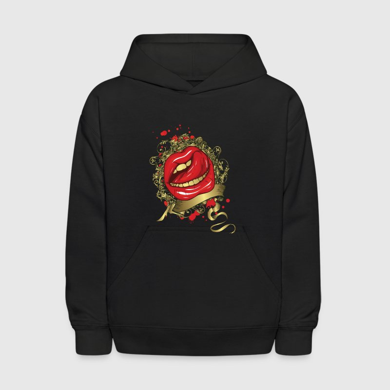 Tongue Stroking a Red Lips - Kids' Hoodie