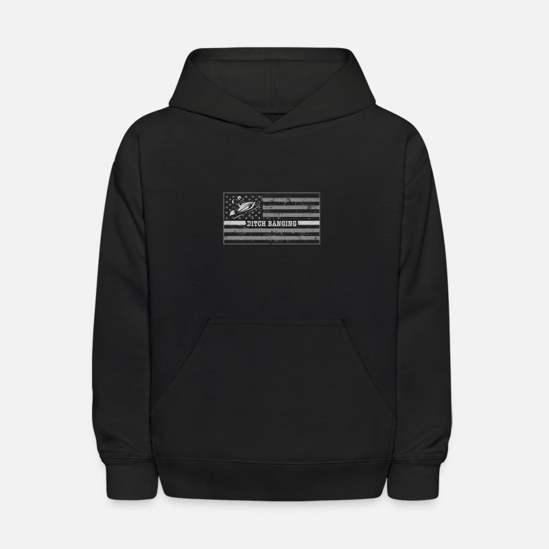 Snowmobile Outfit Shirt Ditch Banging Snowmobile Flag Kids Hoodie