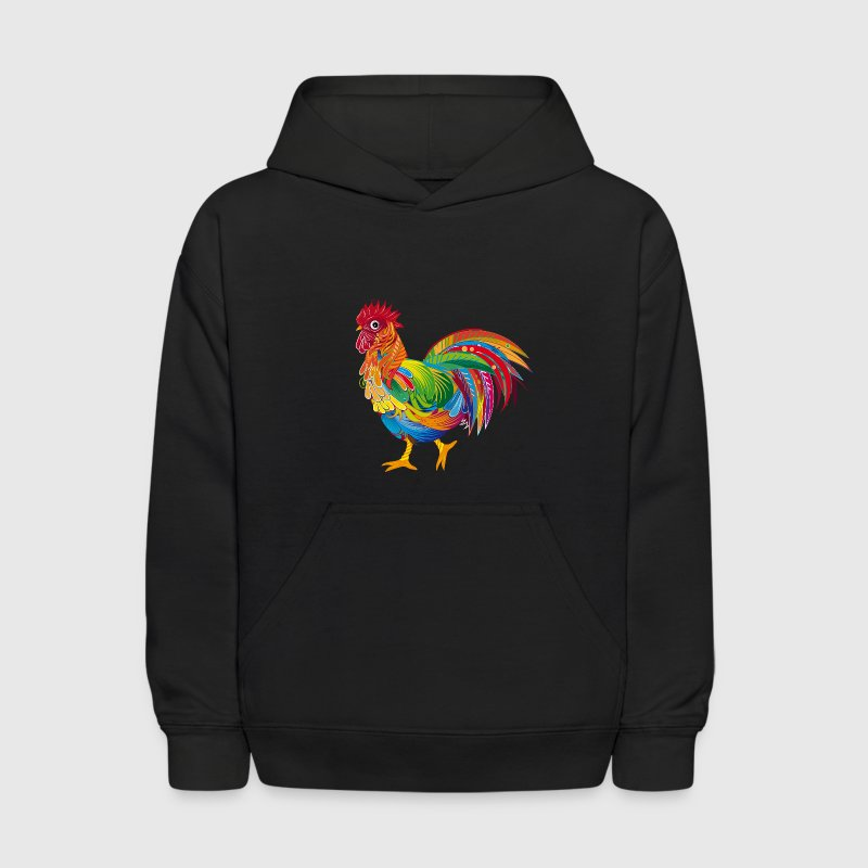 An ornately decorated rooster - Kids' Hoodie