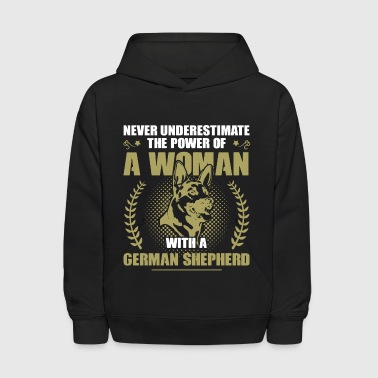 Woman With German Shepherd Shirt - Kids' Hoodie