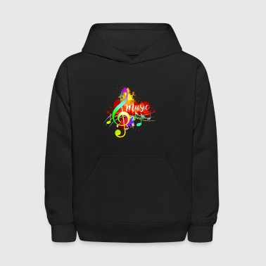 Funky Colorful Music Treble Clef Musical Note Art - Kids' Hoodie