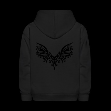 Flying Bat, Tribal and Tattoo Design - Kids' Hoodie