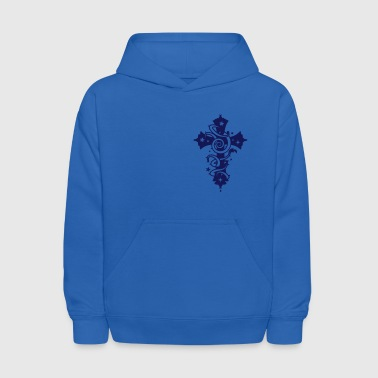 Cross with floral forms and thorns  - Kids' Hoodie