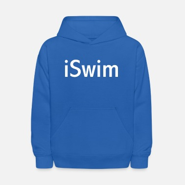 Swimmer iSwim - in white, great design for colored shirts, shorts, bags and other items. - Kids' Hoodie