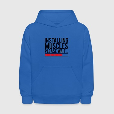 installing muscles please wait - Kids' Hoodie