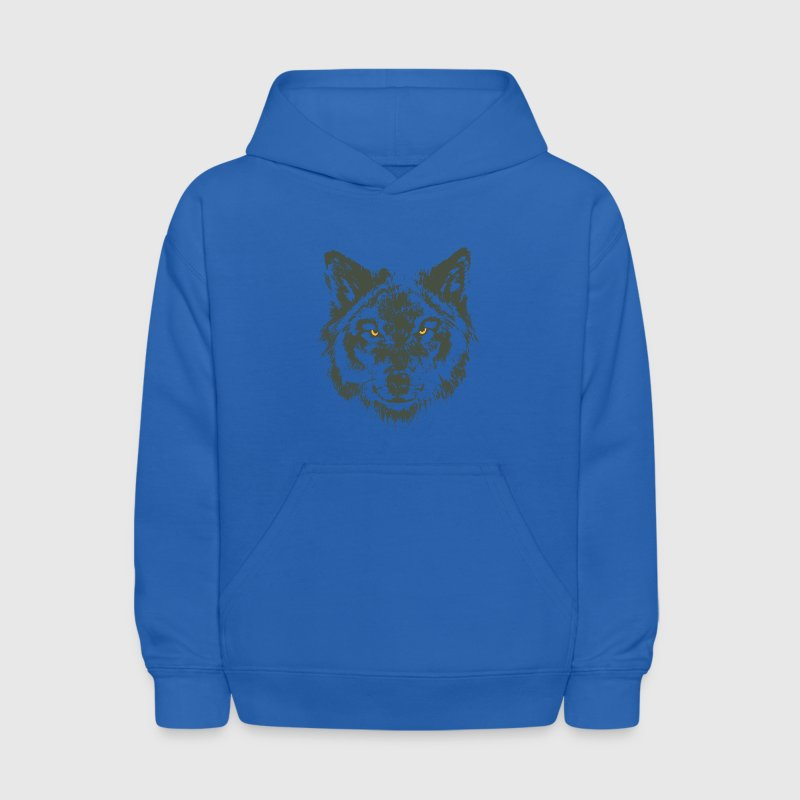 Wolf with yellow eyes - hand-drawn style - Kids' Hoodie