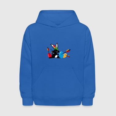Easter bunny with a bow and arrow - Kids' Hoodie