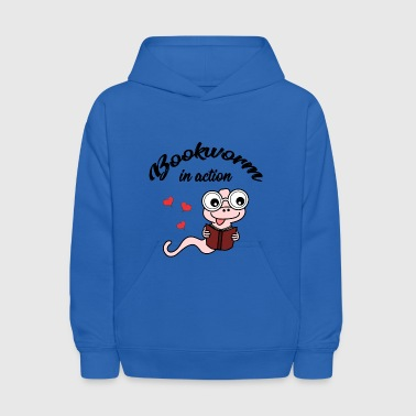 bookworm in action - reading - books - Kids' Hoodie