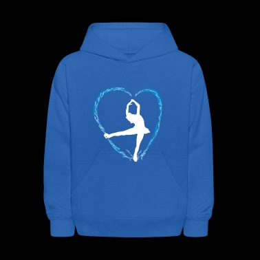 Ice blue heart and a girl ice dance figure skating - Kids' Hoodie