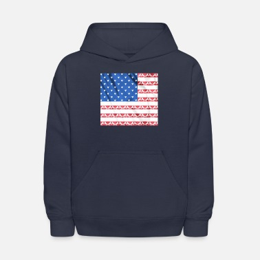 4th of July love your horse us flag - equine style - Kids' Hoodie