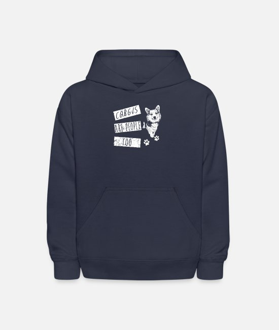Christmas Hoodies & Sweatshirts - Corgi Are People Too! Best Shirt For Corgi Lover - Kids' Hoodie navy
