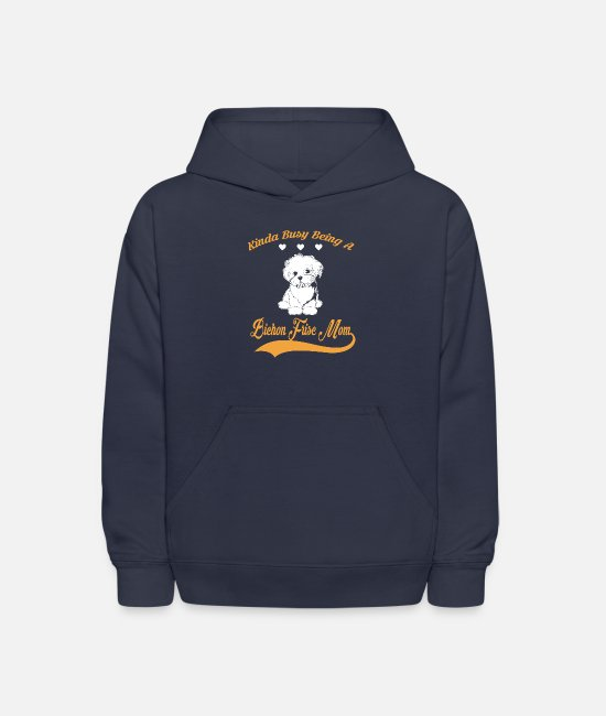 BICHON FRISE Hoodies & Sweatshirts - Kinda busy being BICHON FRISE MOM 2 - Kids' Hoodie navy