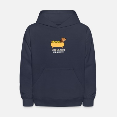 Funny Check Out My Wiener Funny Dachshund Joke - Kids' Hoodie