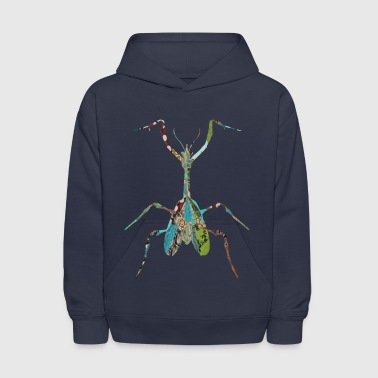 Insect artTS collage art INSECT : MANTIS praying greenz  - Kids' Hoodie