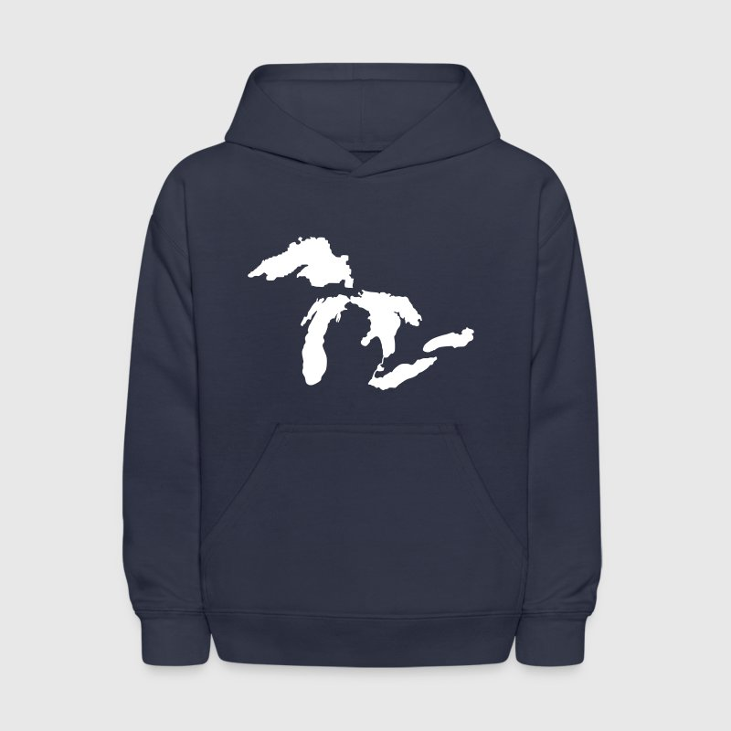 The Great Lakes Design Michigan SIlhouette Vector - Kids' Hoodie